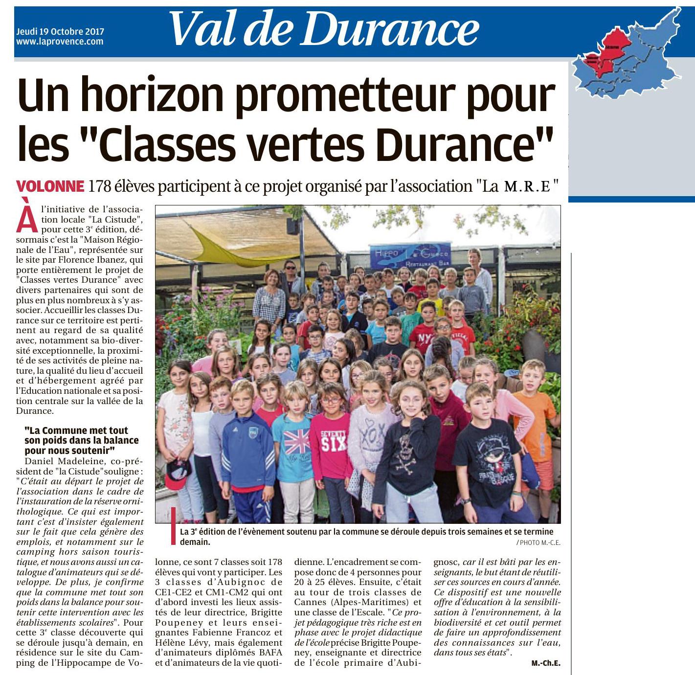 CLASSES DURANCE, Article de la Provence, 19 oct 2017