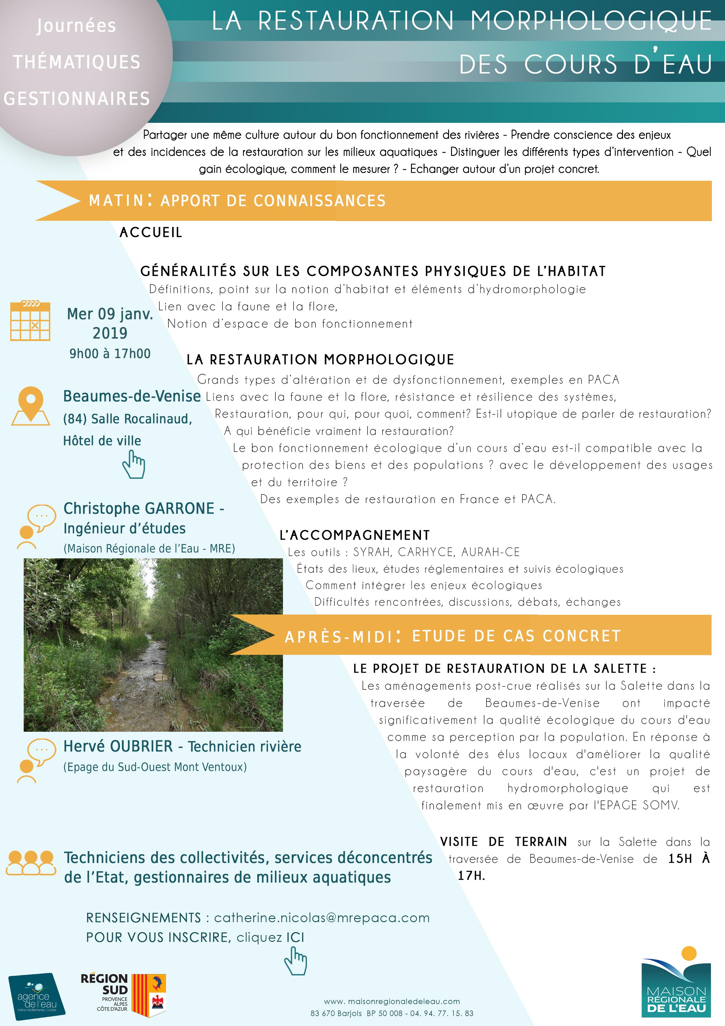 La restauration morphologiques des cours d'eau, le 9 janvier 2019 à Beaumes-de-Venise (84)